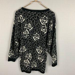 Vintage Jamie Scott 90s Oversized Rose Sweater